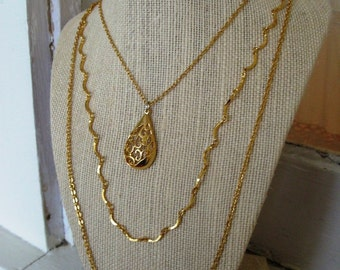FREE SHIPPING Vintage Goldtone Multistrand Necklace with Layered Chains and Filigree Pendant Accent