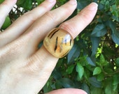 Resin Ring Orange and Black Halloween - Feather Resin Ring - Small