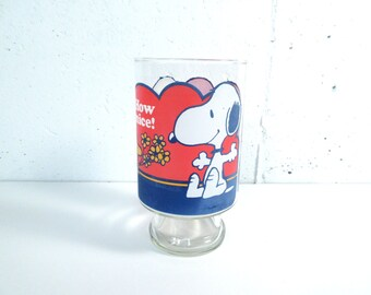 Vintage Snoopy glass, Snoopy and Woodstock collectable, drinking glass, large glass, 1960s
