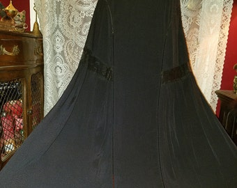 Black Floor Length Skirt, Bohemian Witchy Gypsy Gothic, Size Small