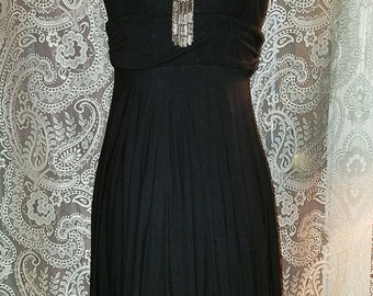Black Marilyn Monroe Inspired Dress Plunging Neckline Small