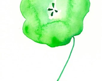 "Watercolor print: ""Spring Green Flower"""