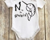 6m White Grey edge N is for Narwhal Sea Stars Nautical Punk Baby Clothing Alt Goth Rocker Babygro vest romper by Love Rocky