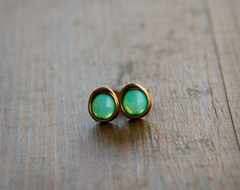 Bright Milky Aqua Czech Glass Beads Wire Wrapped into Stud Earrings with Antiqued Brass Wire