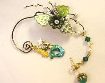 Mermaid Ear Wrap - Mermaid Ear Cuff - Mermaid Earrings - Mermaid Jewelry - Nautical Ear Cuff - Nautical Earrings - Ocean Ear Cuff