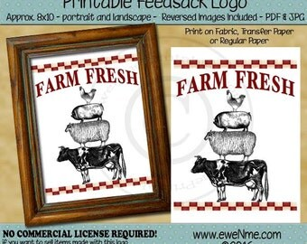 Farm Fresh Stacked Farm Animal Printable Feedsack Logo - Rustic Feed Sack Image - Cow, Sheep, Pig, Chicken, Rooster -  PDF & JPG File