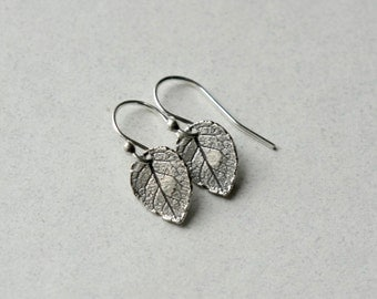 Sterling Silver Leaf Earrings, Woodland Jewelry, Minimal Earrings, Nature Jewelry, Rustic Small Dangle Earrings