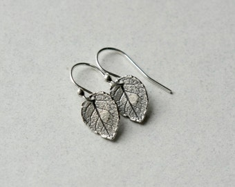 Sterling Silver Leaf Earrings, Woodland Jewelry, Minimal Earrings, Nature Jewelry, Rustic Small Dangle Earrings, Nature Inspired Jewellery