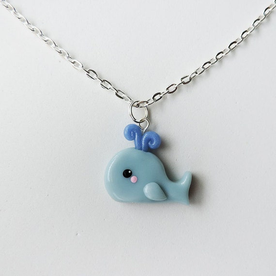 Polymer Clay Blue Whale Necklace