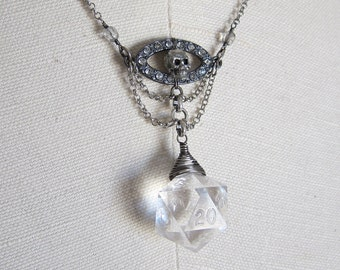 Ice Skull: Dungeons and Dragons D20 Necklace, Wire Wrapped, Hand Woven, Chains, Ice, Silver, Skull, Crystals, Gunmetal