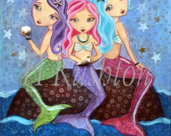 Mermaid Decor - Mermaid Art- Childrens Decor - Mermaid Print- 8x10 and 5x7