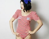 Vintage 4th of July Leotard, Red Sequin Flag Body Suit, Red White Blue Leotard, USA Leotard, Merica Leotard,  4th July Top