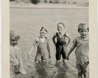 vintage photo 1919 Young children Woolen Swimsuits Summer Fun in Lake