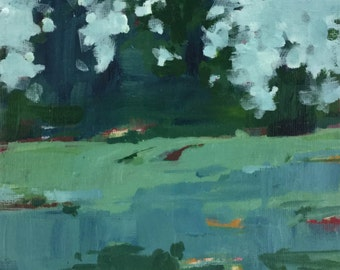 Pine Meadow Study - 7x5 inches orignal acrylic landscape painting of pine trees at the far end of a green meadow by Barb Mowery