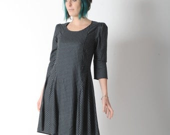 Grey dress, Black and grey houndstooth dress, Assymetrical dress with sheer mesh bac, Womens clothing, Womens dresses, MALAM, size UK 12