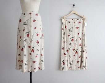 painted tulip skirt / floral skirt / 90s skirt