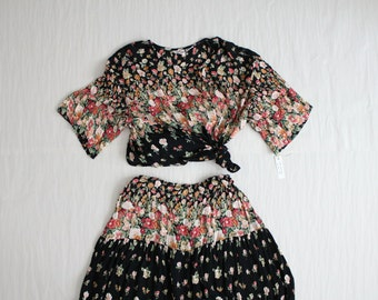 top and skirt set / floral dress / two piece outfit