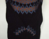 Hand Knit Icelandic LOPI Wool Traditional Sweater Unisex - Long Length - Black with Denim and Copper Heathers