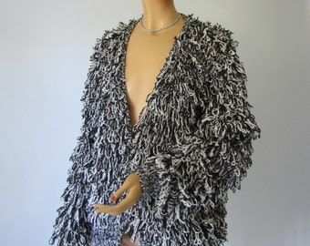 Wild Thing - Vintage Shaggy Black and White Fringe Cardigan Sweater XL Large