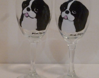 Hand Painted Japanese Chin Dog Wine Glasses set of 2 Pet  Lovers Boutique
