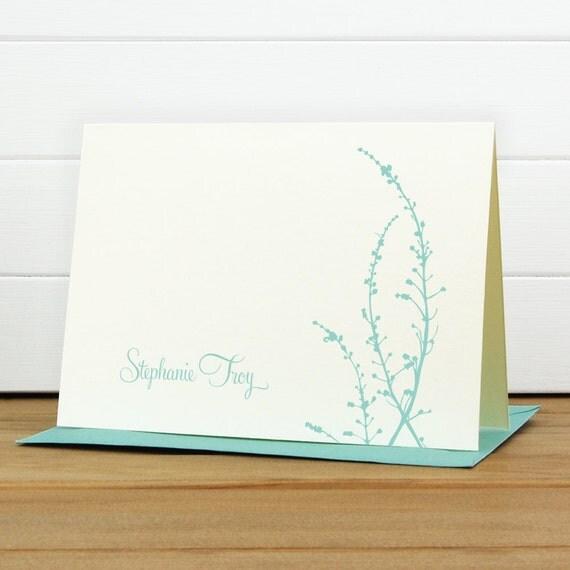 Custom Stationery / Custom Stationary - VINE Custom Note Card Set - Floral Pretty