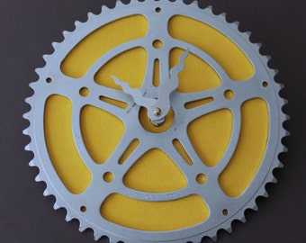 Bicycle Gear Clock - Vintage Yellow | Bike Clock | Wall Clock | Recycled Bike Parts Clock