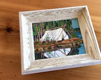 Vintage Painting, Framed Art. Camping, Tress, Lake,  Nature Theme. Rustic Log Cabin Decor. Original Art, Impasto.