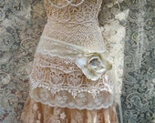 Boho lace dress wedding cream crochet  tulle tiered   flapper  vintage  bride outdoor  romantic small  by vintage opulence on Etsy