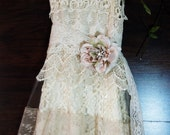 Crochet lace dress wedding white ivory lace tulle tiered boho  vintage  bride outdoor  romantic small  medium by vintage opulence on Etsy