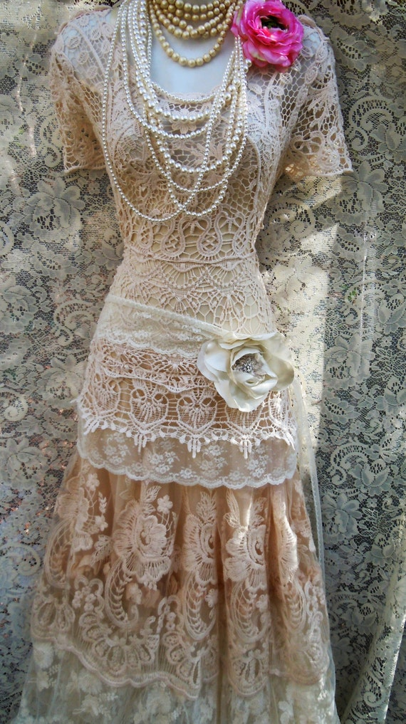 Boho Lace Wedding Dress Etsy : Boho lace dress wedding cream crochet tulle tiered flapper vintage