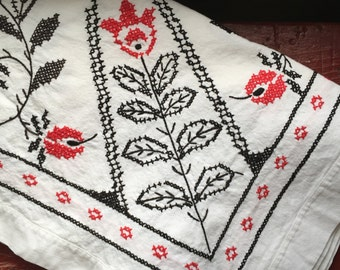 vintage black and red  floral embroidered table cloth
