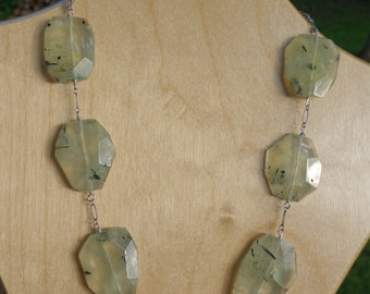 Green Serpentine and Sterling Silver Necklace