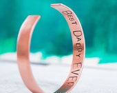 Personalized Men's Cuff Bracelet with Names, Date, Roman Numerals, Word or Quote  {Hand Stamped Copper}