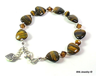Tigers Eye Bracelet Tigers Eye Chakra Bracelet Crystal and Silver Hearts of Stone - B2015-07