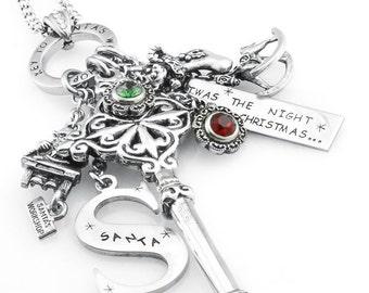 Key Necklace, Key Penant, Christmas Necklace, Christmas Jewelry, Christmas Pendant, Santa Necklace, Key to Santa's Workshop