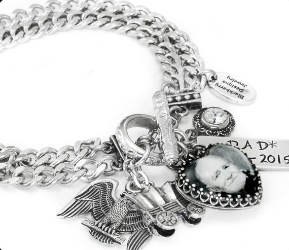 Engraved Charms For Bracelets: Custom Charm Bracelet Memorial Jewelry Personalized Photo