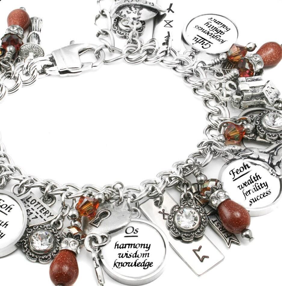 boho runes charm bracelet silver charm bracelet runes