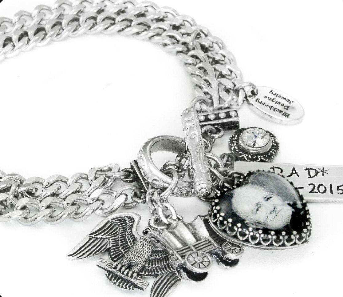 Design Your Own Custom Bangle Charm Bracelet Pick Your Charms: Custom Charm Bracelet Memorial Jewelry Personalized Photo
