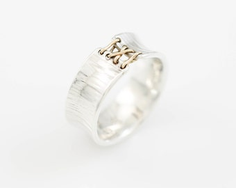 Narrow Corset Ring, Sterling Silver Laced Corset Ring, Laced Up Ring