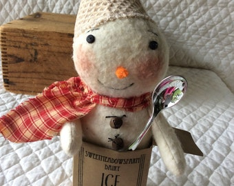 Primitive cute little snowman snowmen in ice cream container with silver spoon by yellowsweetpotato