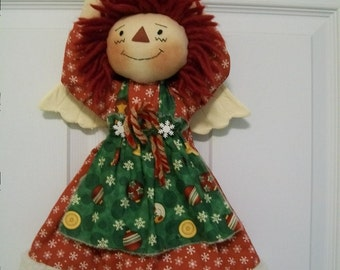 Primitive cute Raggedy Ann Angel Tree topper for Christmas in red and green crafted by yellowsweetpotato