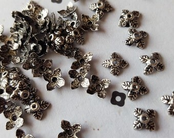 Silver Plated leaves bead caps (100)