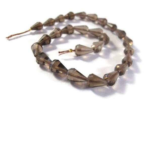 3 Smoky Quartz Beads Set Of 3 Brown Long Drilled