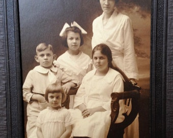 Mother and Her Four Children - Antique Photograph in Folder - Display or Gift - Instant Ancestors