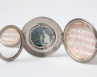 Mixed Media Art Assemblage in a Vintage Compact with Vintage Photo, Cut Up Poetry and Freshwater Pearls