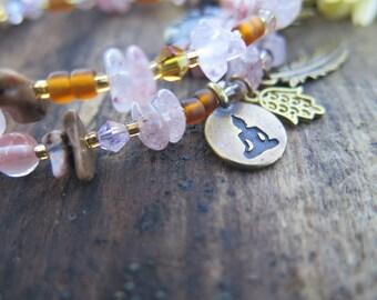 Gemstone Crystal Fall Inspired Double Wrap Bracelet - Choker Pink Brass Rust Brown - Boho Stone Jewelry - Bohemian Buddha Hamsa Flower