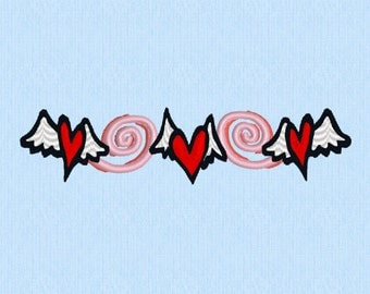 Valentine Heart winged line - Machine Embroidery Design File