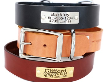 1.5 Inch Wide Leather Dog Collar with Engraved Name Plate -- 3 Classic colors to choose from