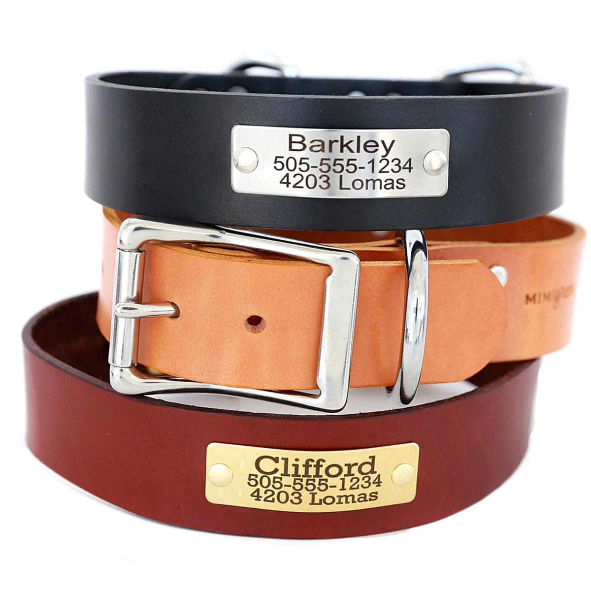 15 Inch Wide Leather Dog Collar with Engraved Name Plate 3