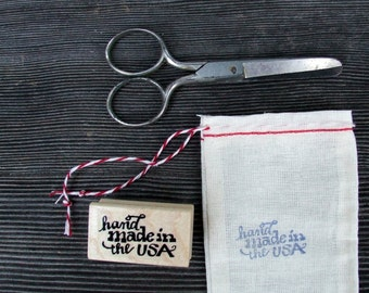 Handmade in the USA Stamp, Craft Rubber Stamps, Hand Lettered Calligraphy, Made in America Stamp, Shop Label Packaging